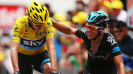 A picture from the BBC showing Froome and Porte